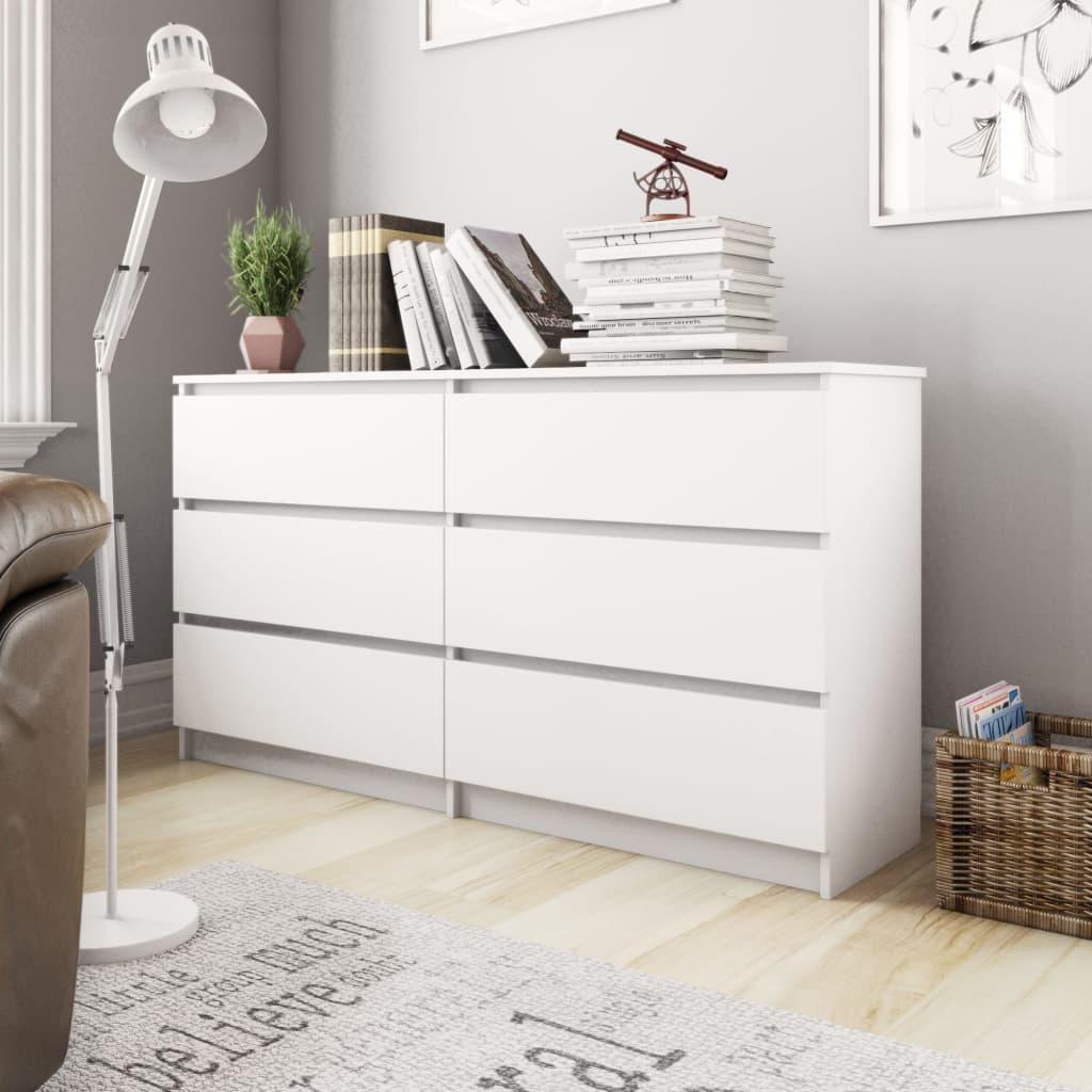 vidaXL Szafka, biała, 140x35x77 cm, płyta wiórowa