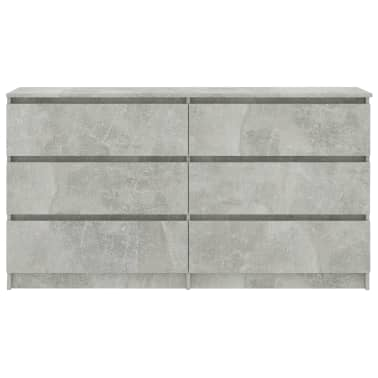 vidaXL Buffet Gris béton 140 x 35 x 77 cm Aggloméré[4/6]