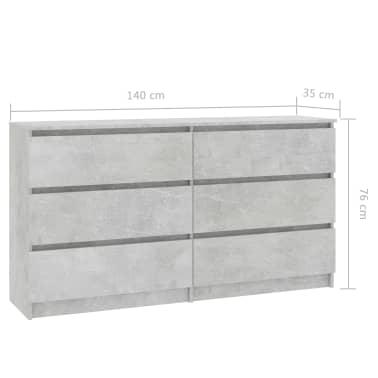 vidaXL Buffet Gris béton 140 x 35 x 77 cm Aggloméré[6/6]