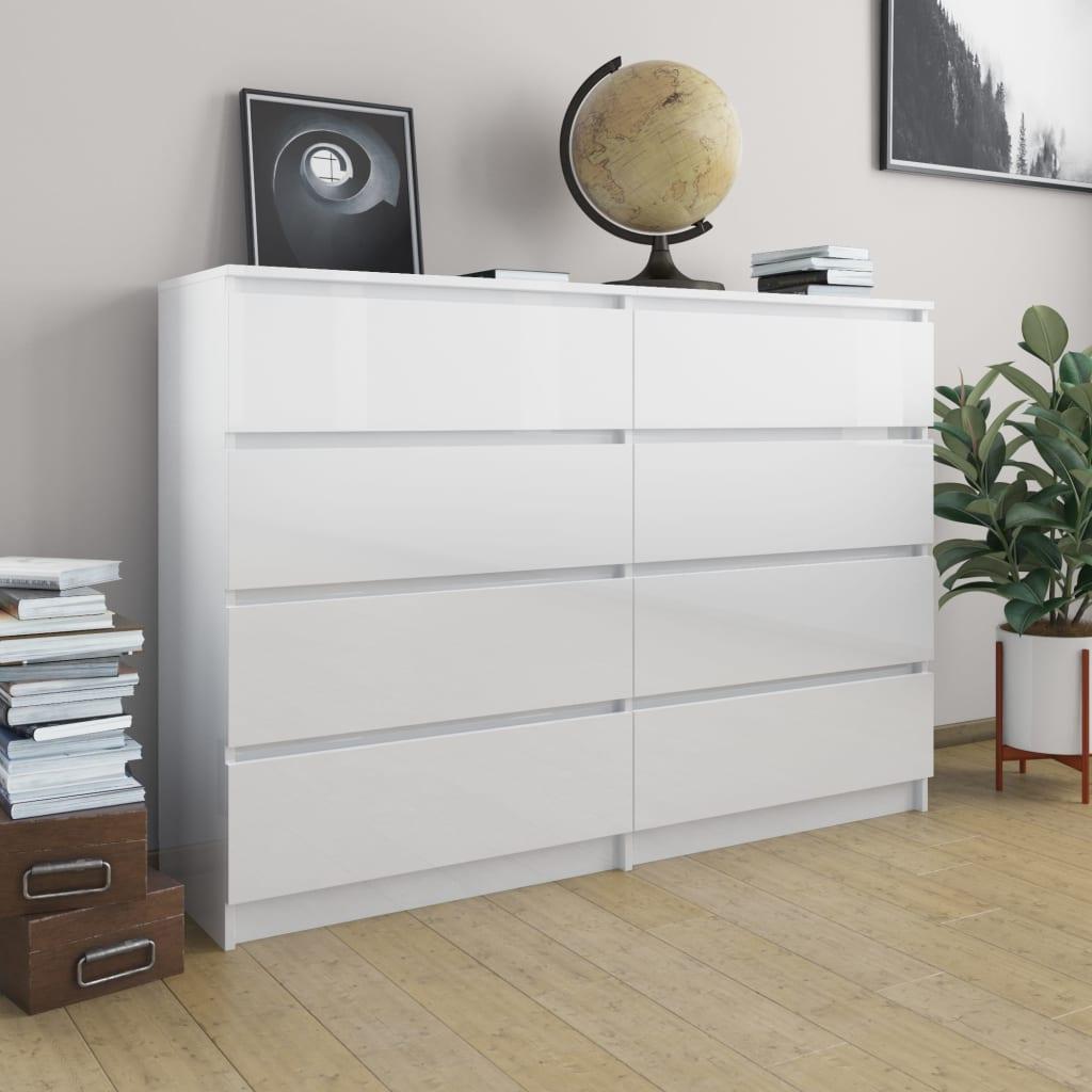 vidaXL Servantă, alb extralucios, 140 x 35 x 99 cm, PAL poza 2021 vidaXL