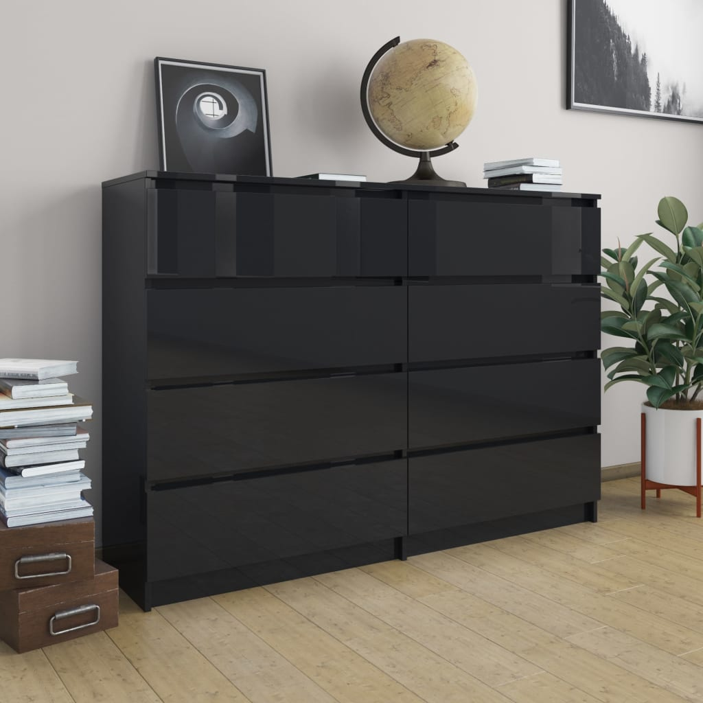 vidaXL Servantă, negru extralucios, 140 x 35 x 99 cm, PAL poza 2021 vidaXL