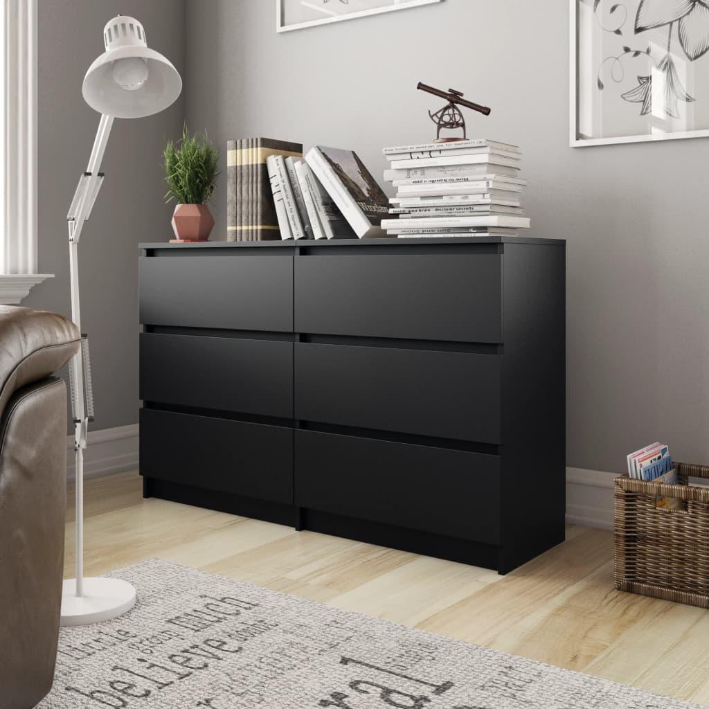 vidaXL Servantă, negru, 120x35x76 cm, PAL vidaxl.ro
