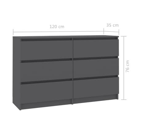 vidaXL Buffet Gris 120 x 35 x 76 cm Aggloméré[6/6]