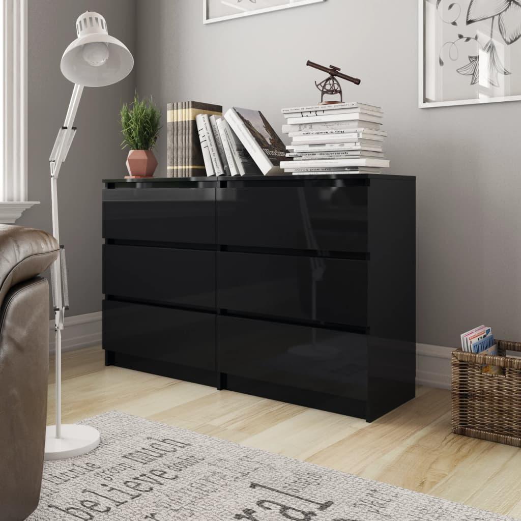 vidaXL Servantă, negru extralucios, 120x35x76 cm, PAL