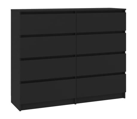 "vidaXL Drawer Sideboard Black 47.2""x13.8""x39"" Chipboard"