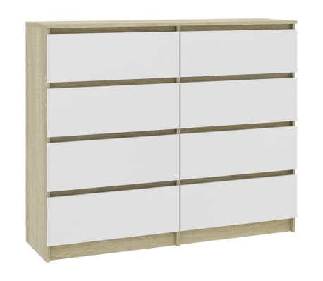 "vidaXL Drawer Sideboard White and Sonoma Oak 47.2""x13.8""x39"" Chipboard"