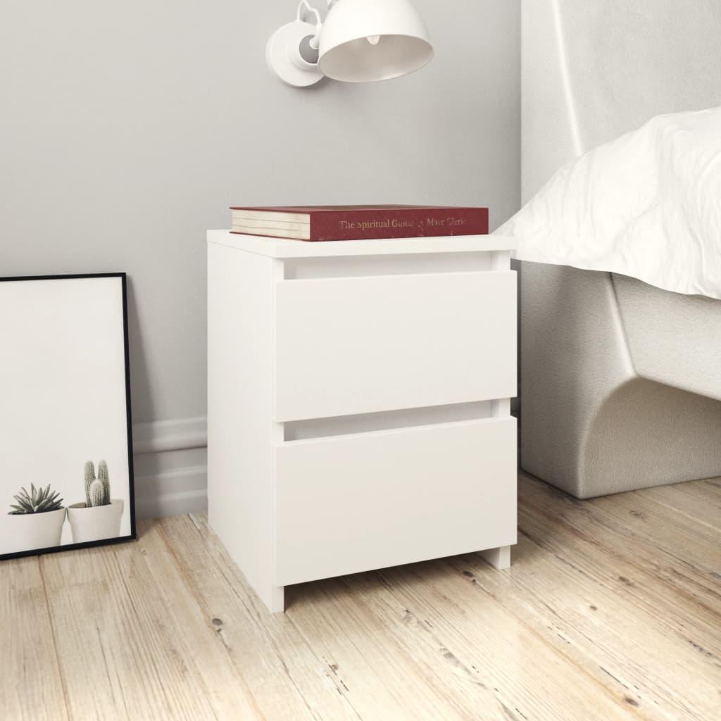 Noční stolek bílý 30 x 30 x 40 cm dřevotříska