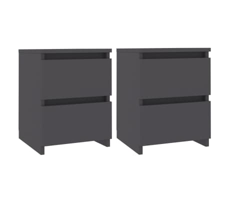 vidaXL Bedside Cabinets 2 pcs Grey 30x30x40 cm Chipboard