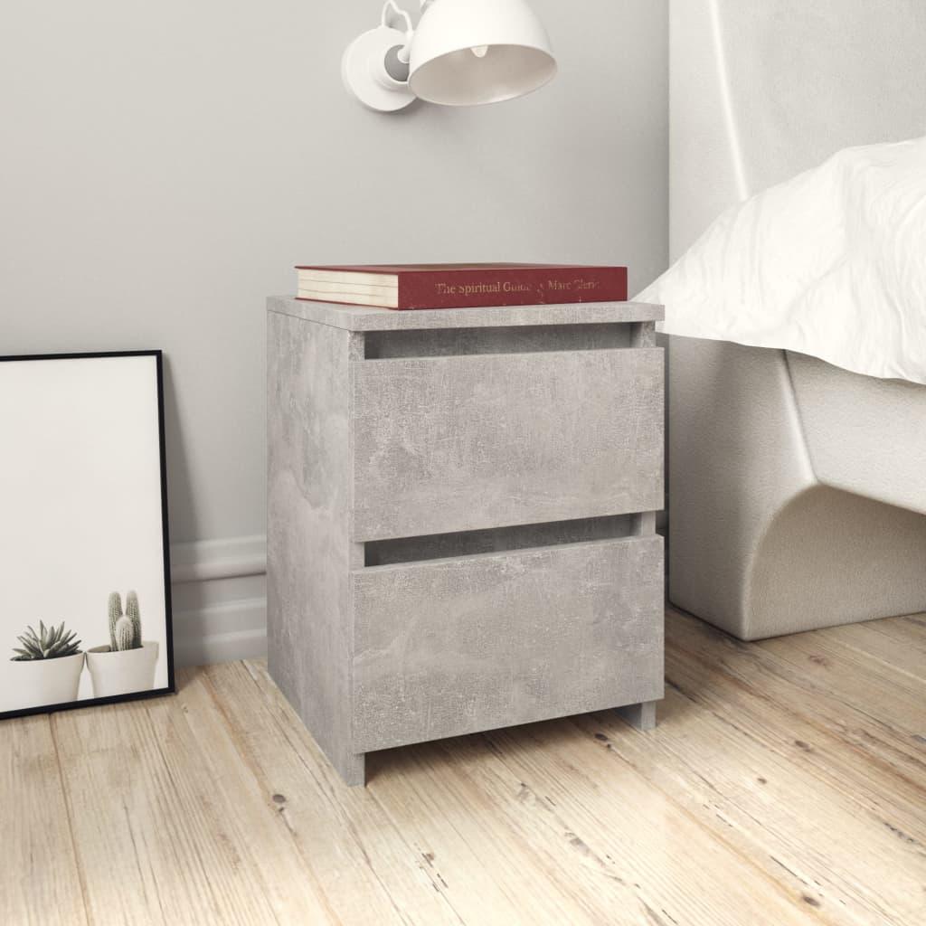 Noční stolek betonově šedý 30 x 30 x 40 cm dřevotříska