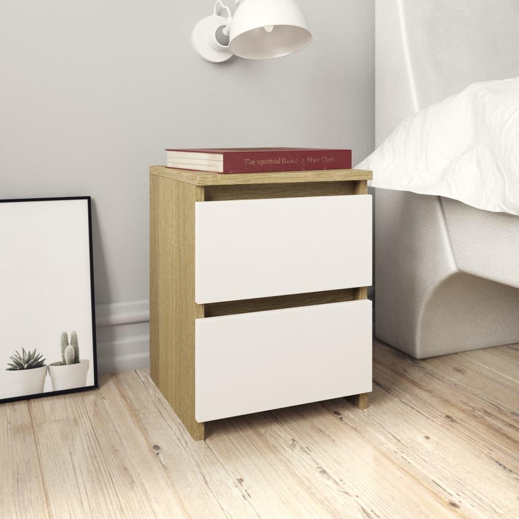 vidaXL Noční stolek bílý a dub sonoma 30 x 30 x 40 cm dřevotříska
