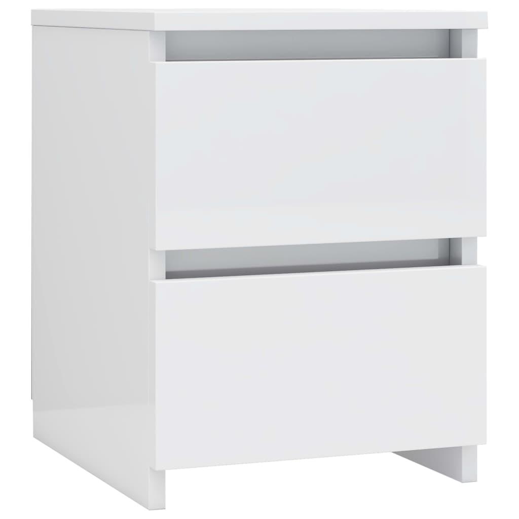 vidaXL Κομοδίνο Γυαλιστερό Λευκό 30 x 30 x 40 εκ. από Μοριοσανίδα