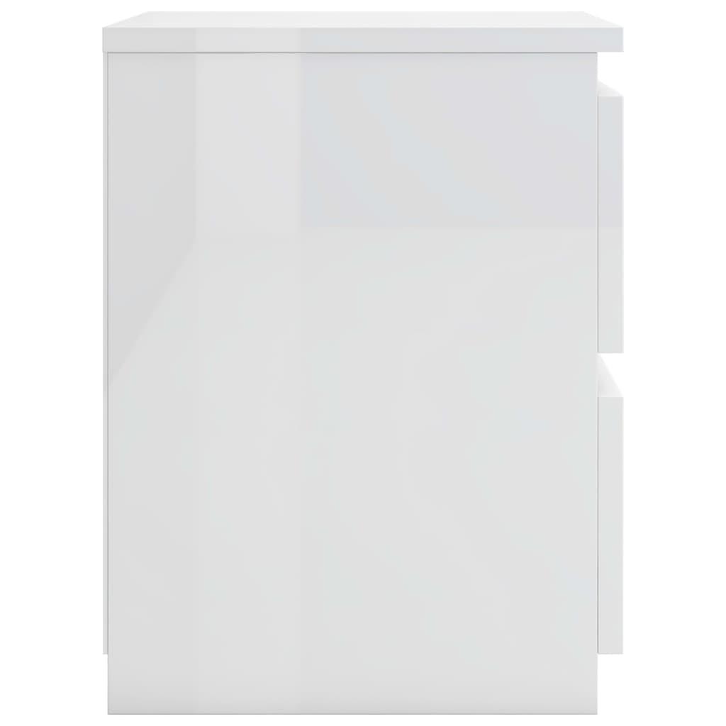 öökapid 2 tk, kõrgläikega valge 30 x 30 x 40 cm, puitlaastplaat