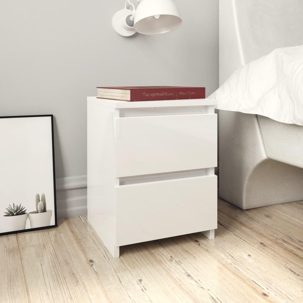 vidaXL Nachtkastjes 2 st 30x30x40 cm spaanplaat hoogglans wit