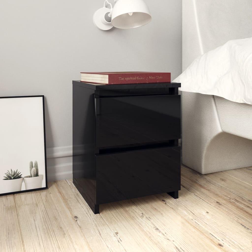 vidaXL Noptieră, negru foarte lucios, 30 x 30 x 40 cm, PAL imagine vidaxl.ro