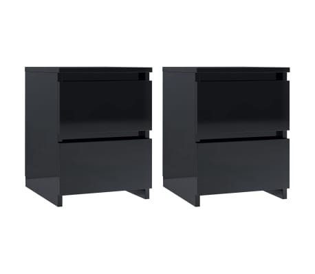 vidaXL Noptiere, 2 buc., negru foarte lucios, 30 x 30 x 40 cm, PAL