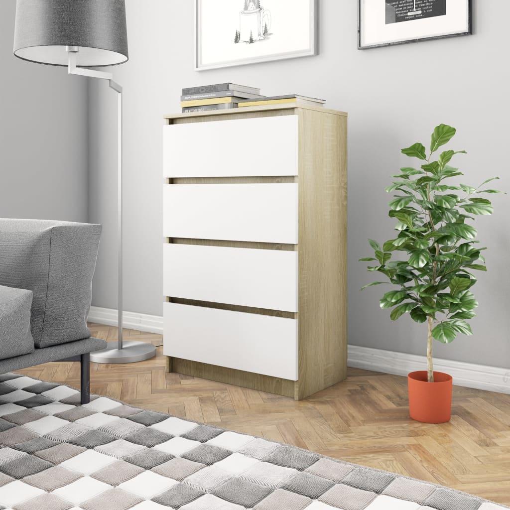 vidaXL Příborník bílý a dub sonoma 60 x 35 x 98,5 cm dřevotříska