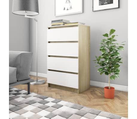 vidaXL Buffet Blanc et chêne sonoma 70 x 40 x 97 cm Aggloméré[1/6]