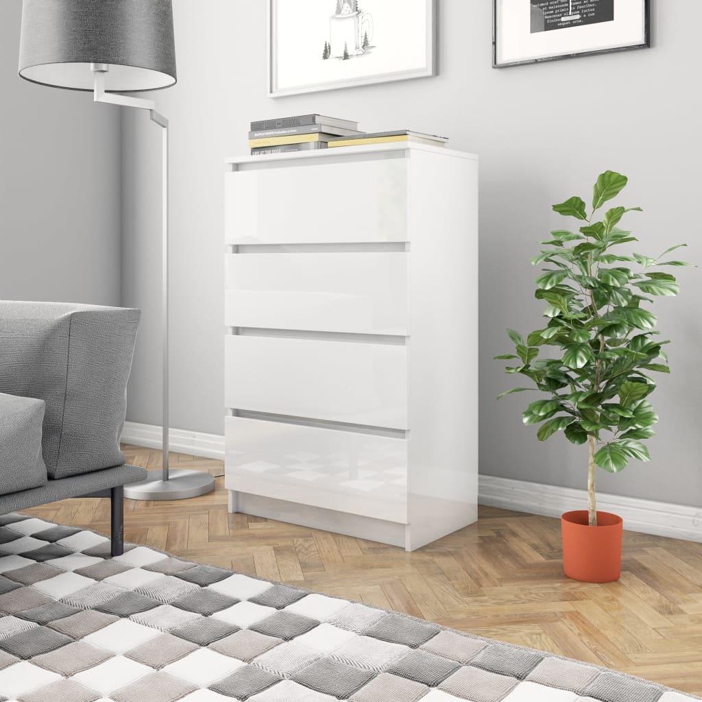 vidaXL Příborník bílý s vysokým leskem 60 x 35 x 98,5 cm dřevotříska