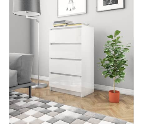 Hochglanz Kommode Sideboard Anrichte Schrank 4 Schubladen 70 cm Breit  Hochglanz