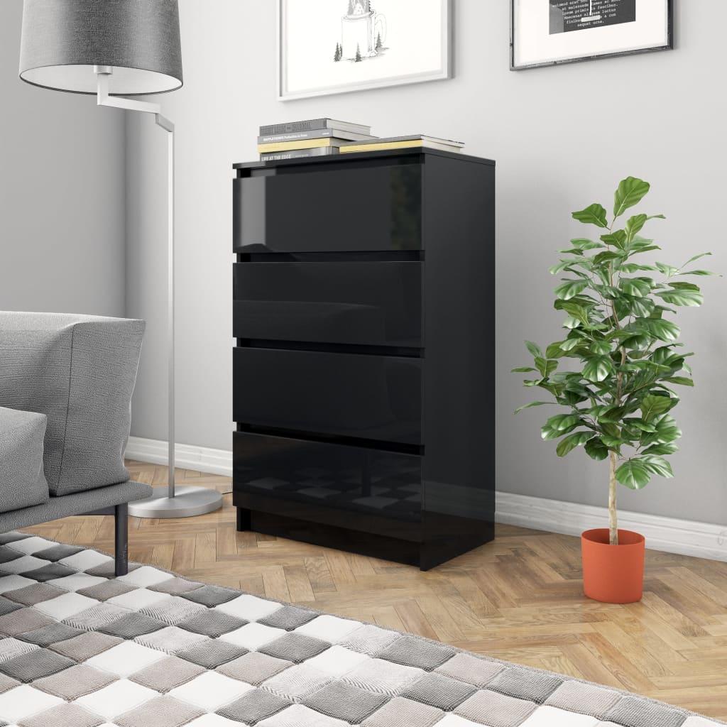 vidaXL Příborník černý s vysokým leskem 60 x 35 x 98,5 cm dřevotříska