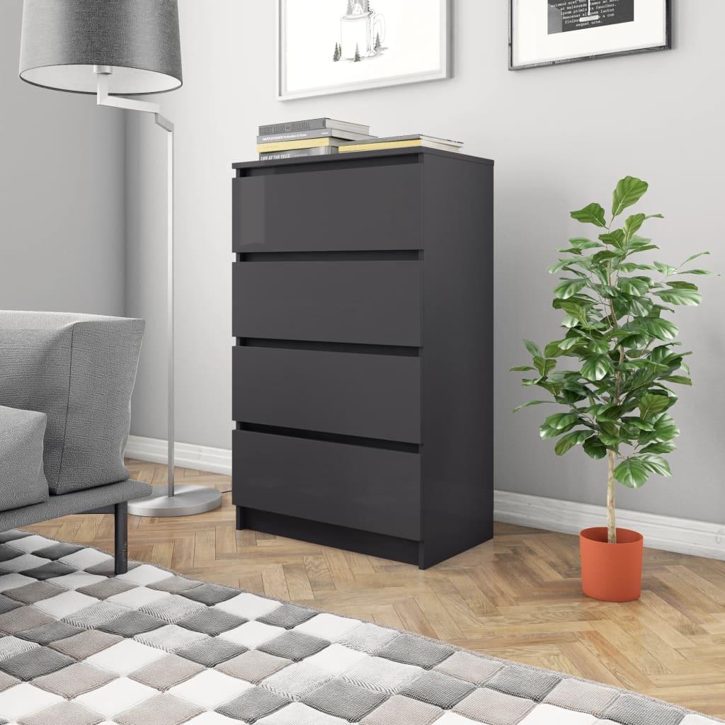 vidaXL Příborník šedý s vysokým leskem 60 x 35 x 98,5 cm dřevotříska