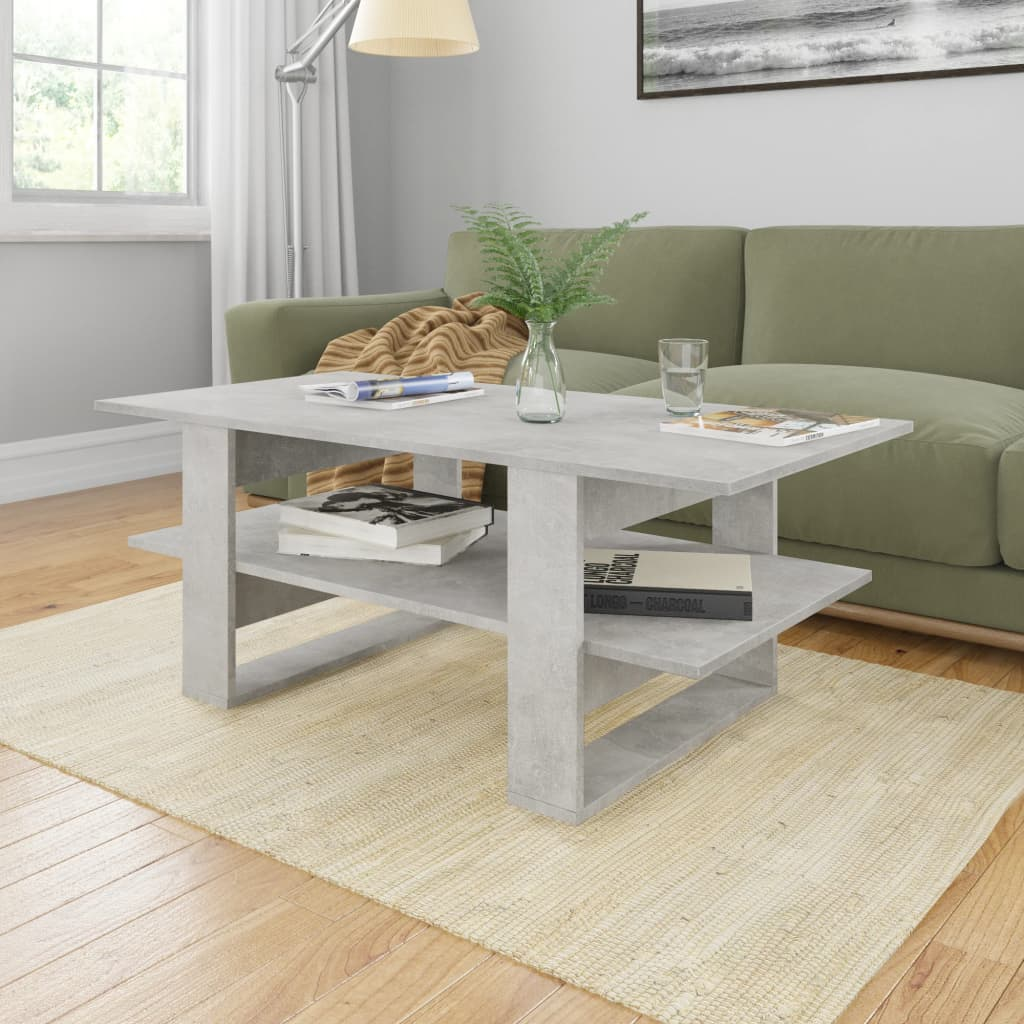 vidaXL Coffee Table Concrete Grey 110x55x42 cm Chipboard