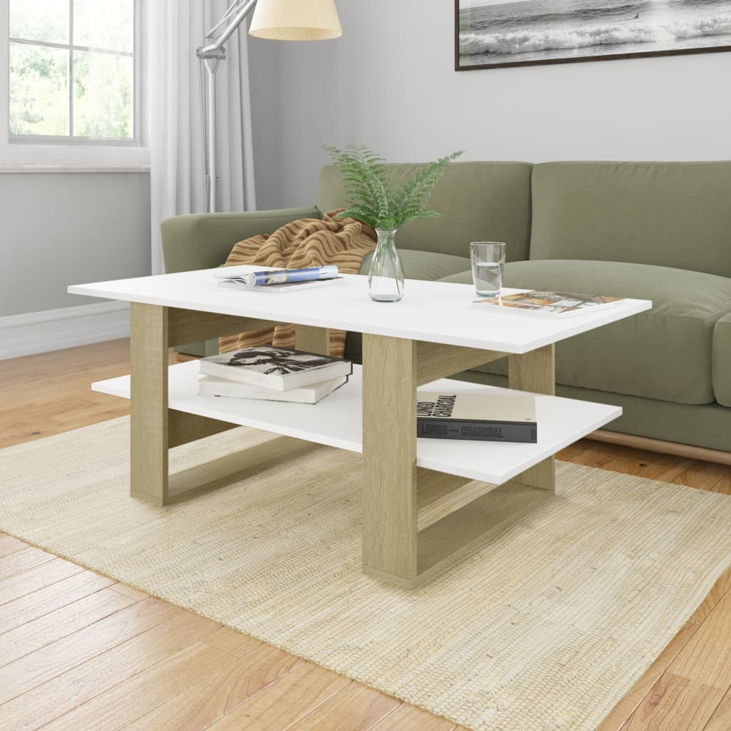 vidaXL Coffee Table White and Sonoma Oak 110x55x42 cm Chipboard