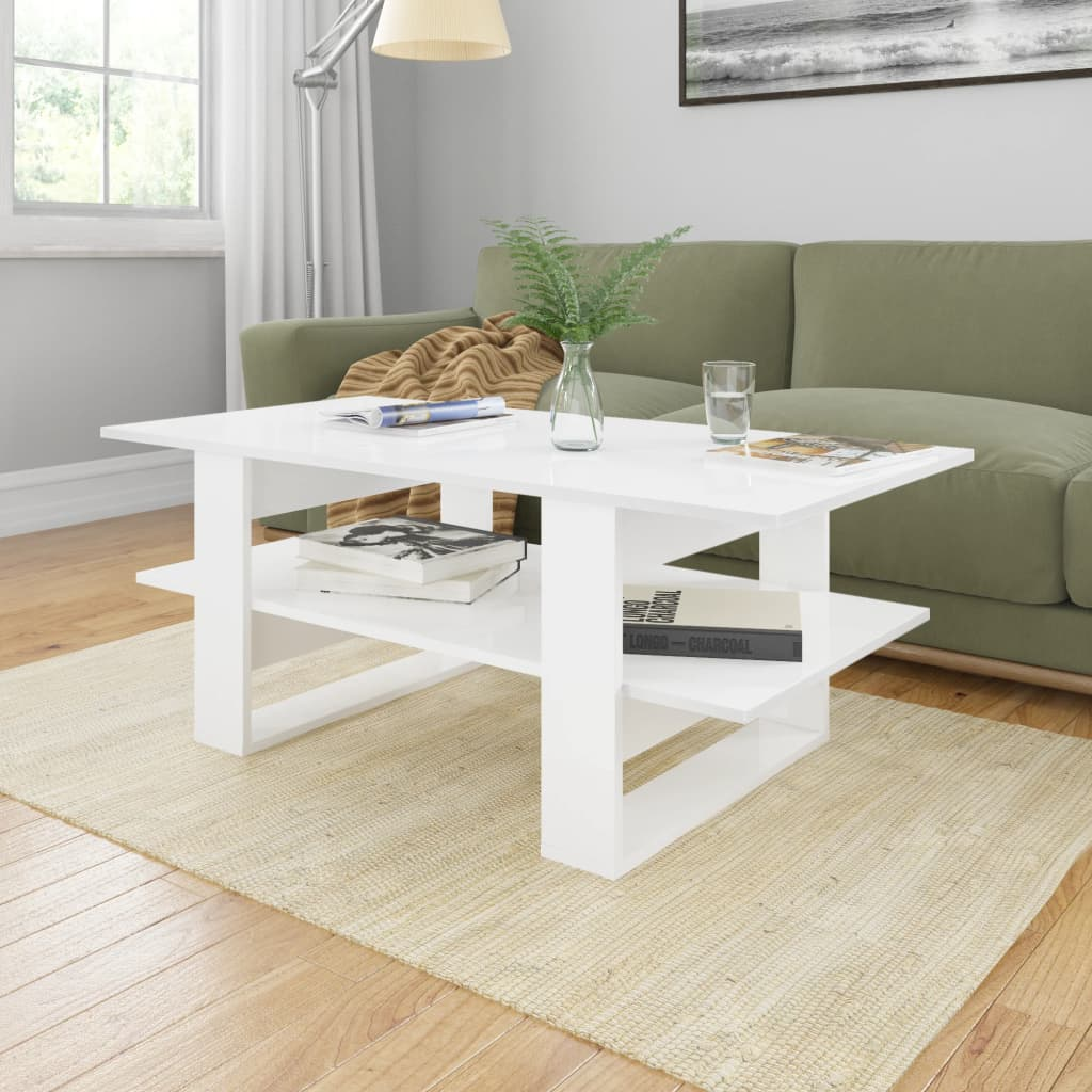 vidaXL Coffee Table High Gloss White 110x55x42 cm Chipboard