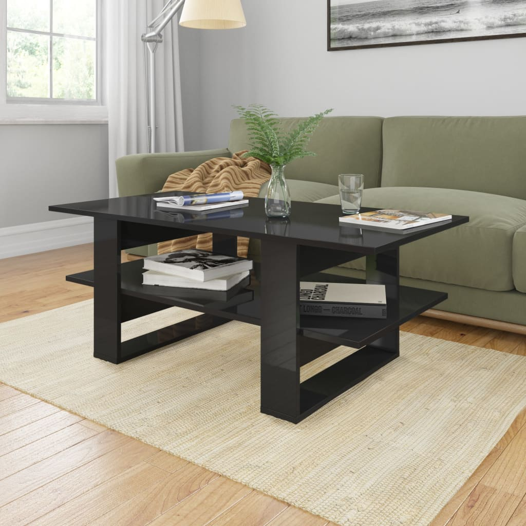 vidaXL Coffee Table High Gloss Black 110x55x42 cm Chipboard