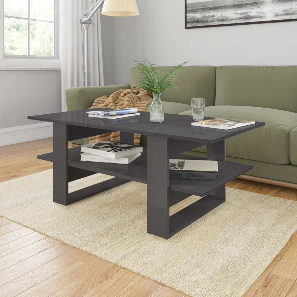 vidaXL Coffee Table High Gloss Grey 110x55x42 cm Chipboard
