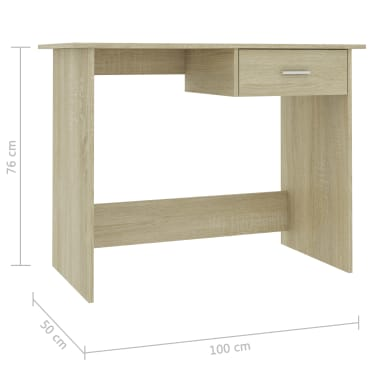 "vidaXL Desk Sonoma Oak 39.4""x19.7""x29.9"" Chipboard[6/6]"