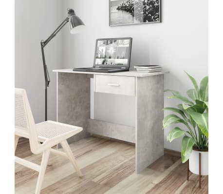 "vidaXL Desk Concrete Gray 39.4""x19.7""x29.9"" Chipboard[1/6]"
