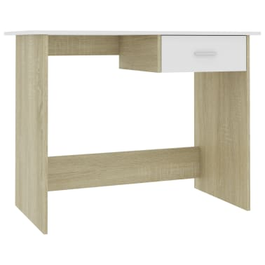 "vidaXL Desk White and Sonoma Oak 39.4""x19.7""x29.9"" Chipboard[2/6]"
