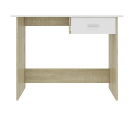 "vidaXL Desk White and Sonoma Oak 39.4""x19.7""x29.9"" Chipboard[4/6]"