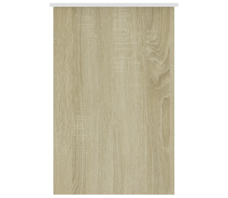 "vidaXL Desk White and Sonoma Oak 39.4""x19.7""x29.9"" Chipboard[5/6]"