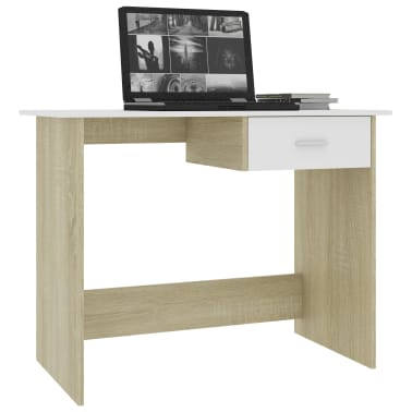 "vidaXL Desk White and Sonoma Oak 39.4""x19.7""x29.9"" Chipboard[3/6]"