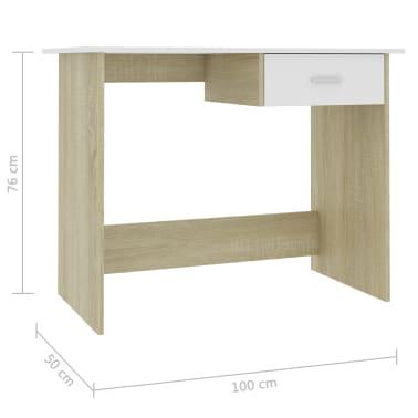 "vidaXL Desk White and Sonoma Oak 39.4""x19.7""x29.9"" Chipboard[6/6]"