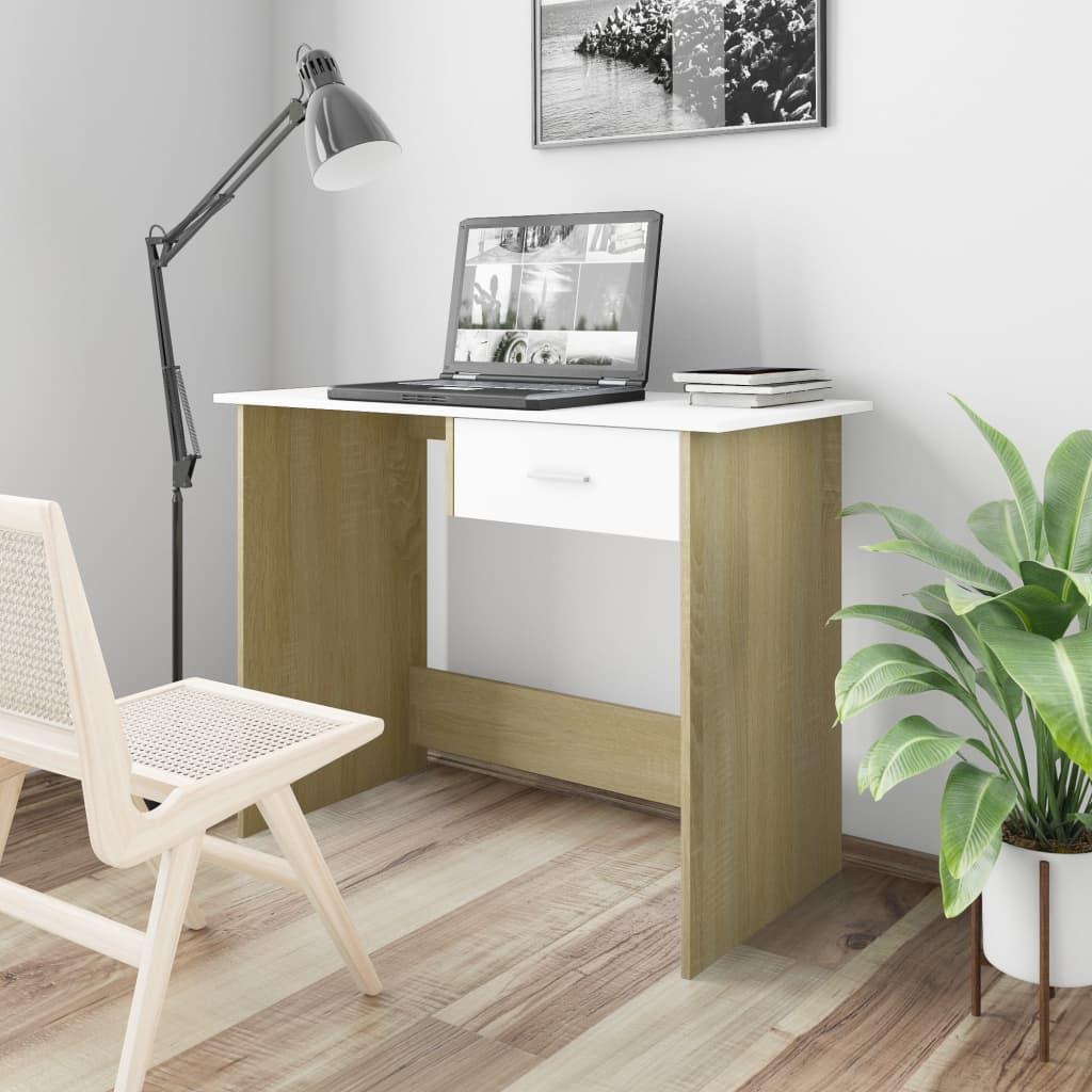 Psací stůl bílý a dub sonoma 100 x 50 x 76 cm dřevotříska