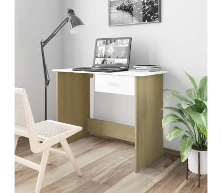 "vidaXL Desk White and Sonoma Oak 39.4""x19.7""x29.9"" Chipboard[1/6]"