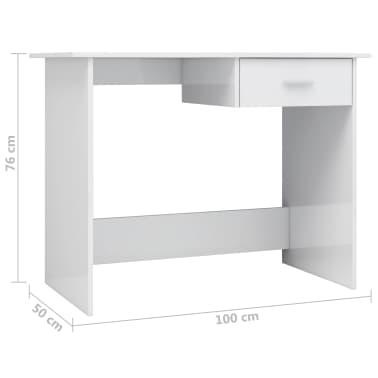 vidaXL Desk High Gloss White 100x50x76 cm Chipboard[6/6]