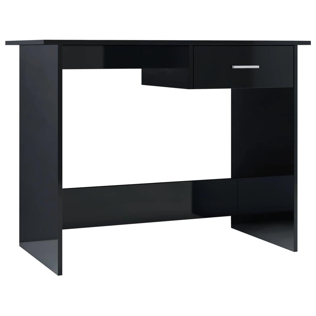 vidaXL Γραφείο Γυαλιστερό Μαύρο 100 x 50 x 76 εκ. από Μοριοσανίδα