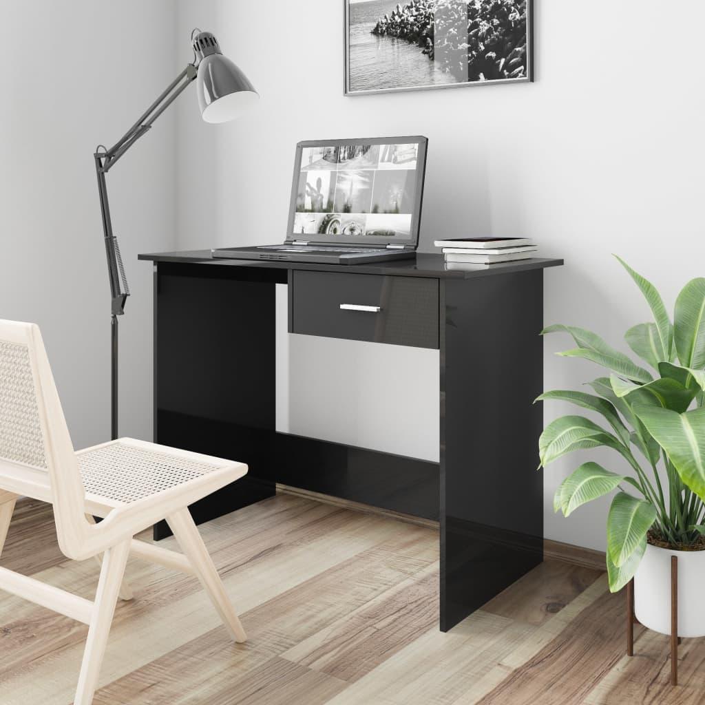 Psací stůl černý s vysokým leskem 100 x 50 x 76 cm dřevotříska