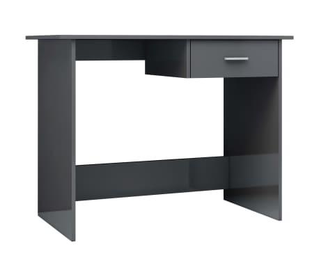 vidaXL Desk High Gloss Grey 100x50x76 cm Chipboard[2/6]