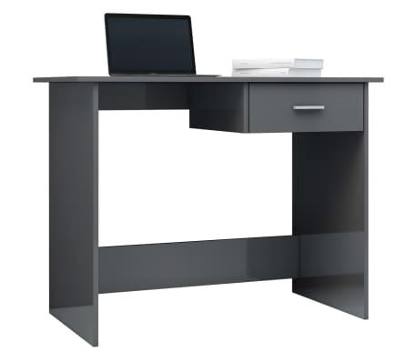 vidaXL Desk High Gloss Grey 100x50x76 cm Chipboard[3/6]