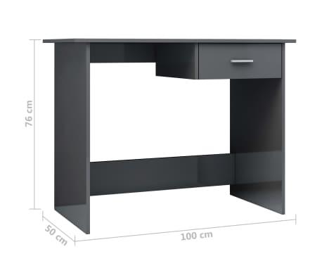 vidaXL Desk High Gloss Grey 100x50x76 cm Chipboard[6/6]