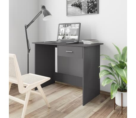vidaXL Desk High Gloss Grey 100x50x76 cm Chipboard[1/6]