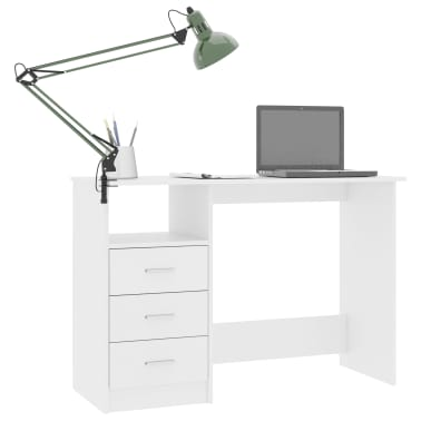 "vidaXL Desk with Drawers White 43.3""x19.6""x29.9"" Chipboard[3/6]"