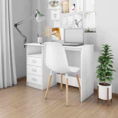 "vidaXL Desk with Drawers White 43.3""x19.6""x29.9"" Chipboard[1/6]"