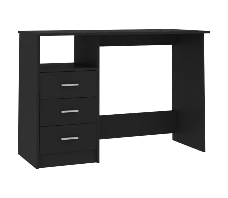 "vidaXL Desk with Drawers Black 43.3""x19.6""x29.9"" Chipboard"