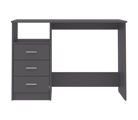 "vidaXL Desk with Drawers Gray 39.3""x19.6""x29.9"" Chipboard[4/6]"